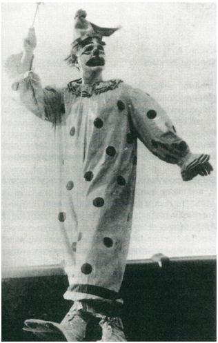 Robert Lax als Clown im Zirkus Cristiani 1949